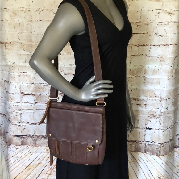 2b8e7746840 Fossil Handbags - Fossil Morgan Traveler Espresso Leather Crossbody